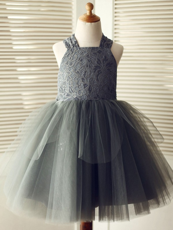 A-Line/Princess Straps Knee-Length Lace Tulle Flower Girl Dresses
