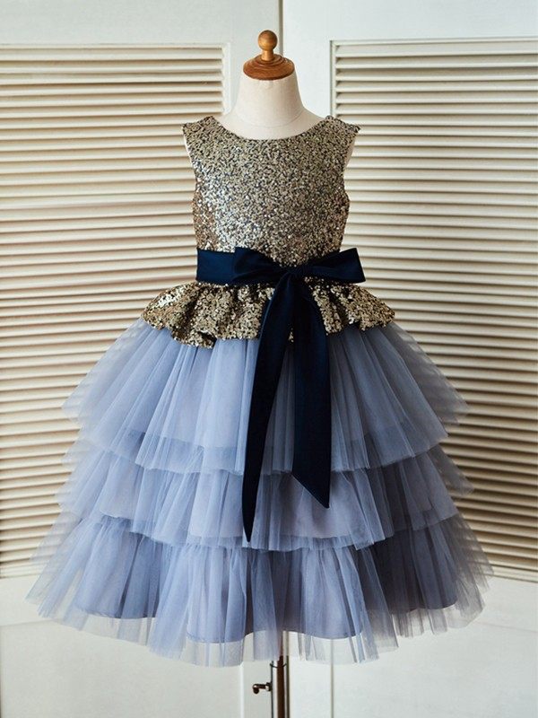 A-Line/Princess Scoop Tea-Length Sequin Tulle Flower Girl Dresses