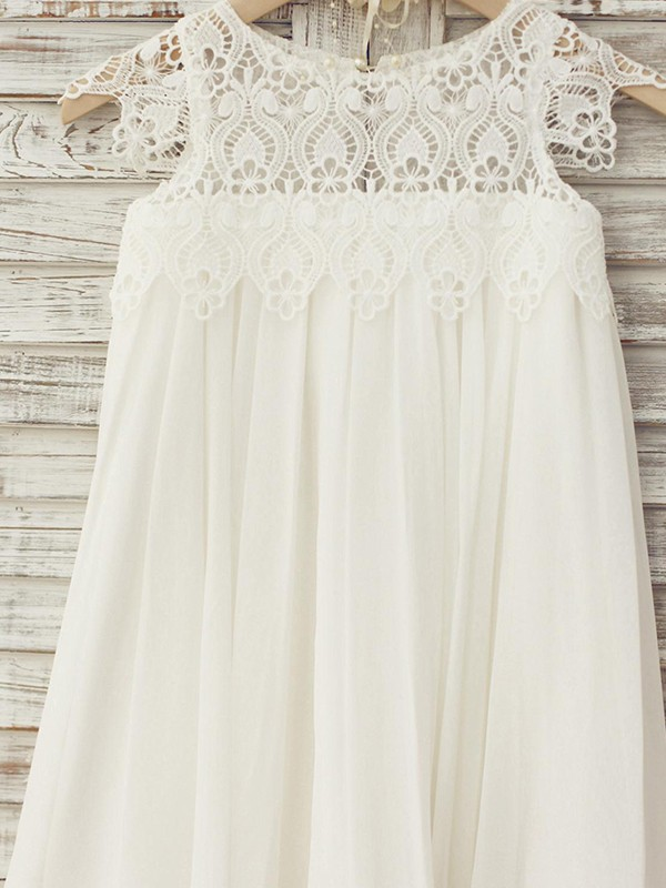 A-Line/Princess Scoop Knee-Length Lace Chiffon Flower Girl Dresses