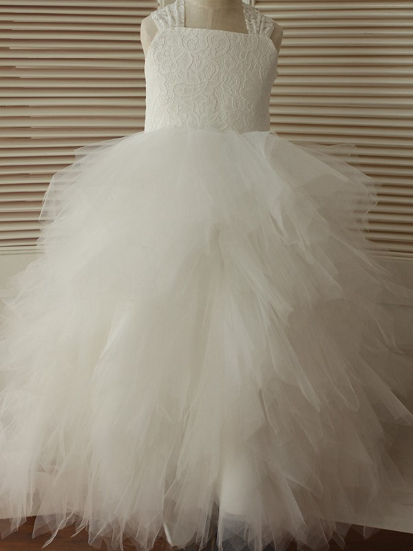 A-Line/Princess Straps Ankle-Length Lace Tulle Flower Girl Dresses