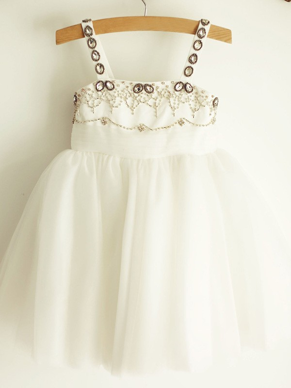 A-Line/Princess Straps Knee-Length Beading Tulle Flower Girl Dresses