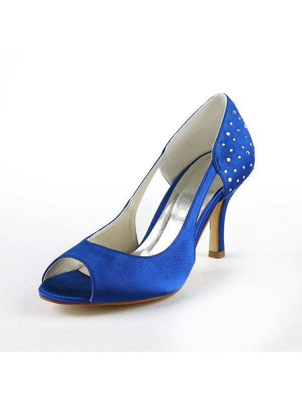 Women's Gorgeous Satin Stiletto Heel Peep Toe With Rhinestone Shoes