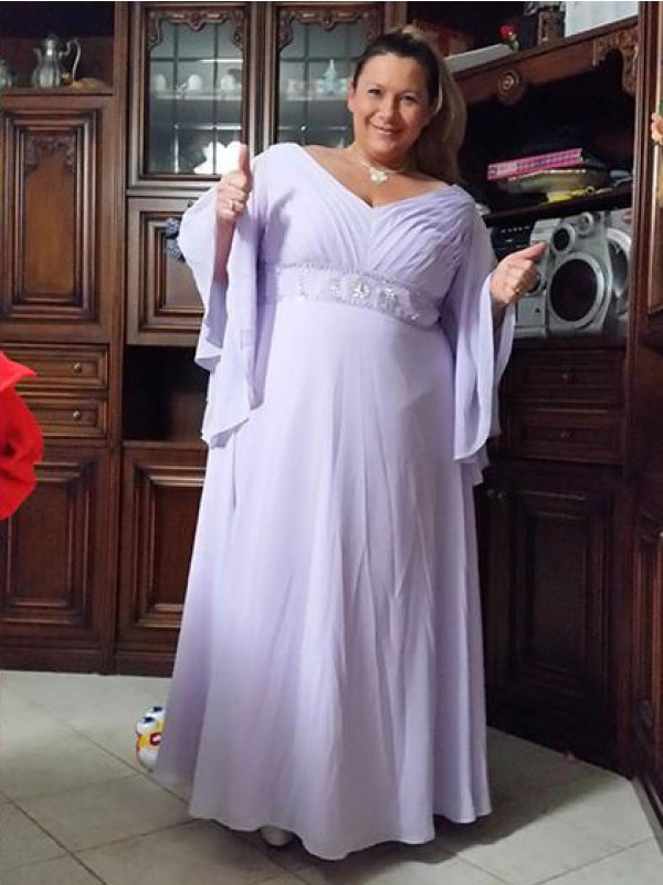 Sheath/Column Sweetheart 1/2 Sleeves Applique Floor-Length Chiffon Mother Of The Bride Dresses