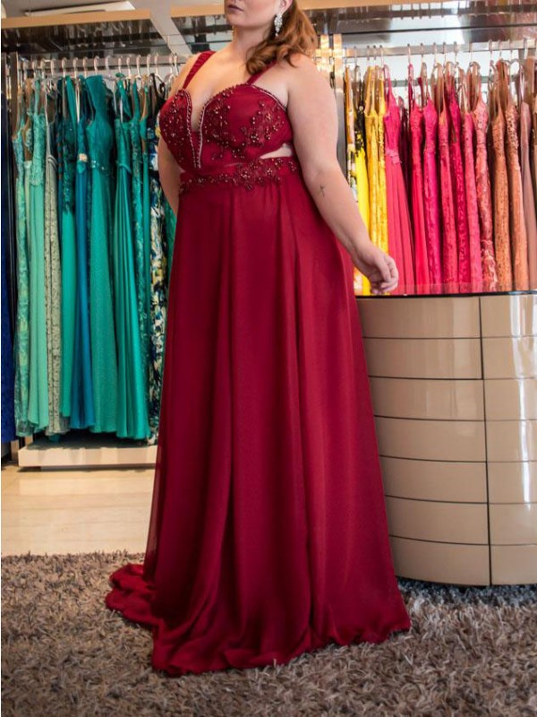 A-Line/Princess Straps Sleeveless Beading Sweep/Brush Train Chiffon Plus Size Dresses