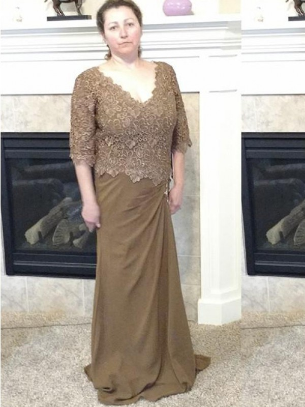 Sheath/Column Off-the-Shoulder Long Sleeves Beading Floor-Length Taffeta Mother Of The Bride Dresses