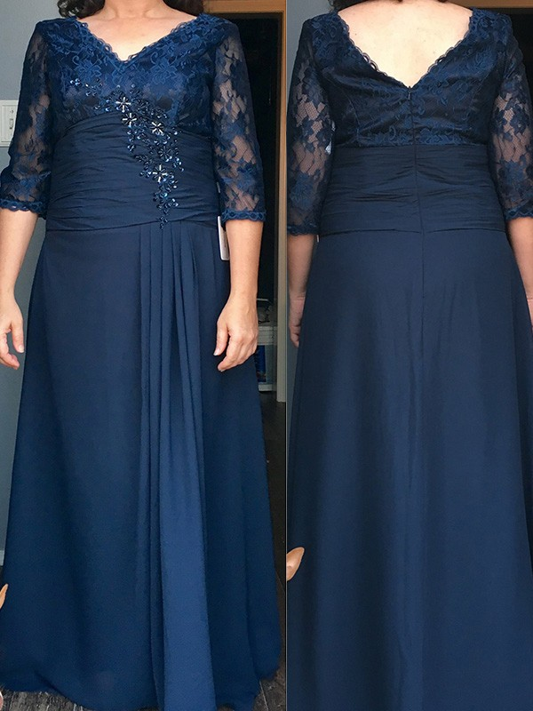 Sheath/Column Scoop 1/2 Sleeves Beading Floor-Length Chiffon Mother Of The Bride Dresses