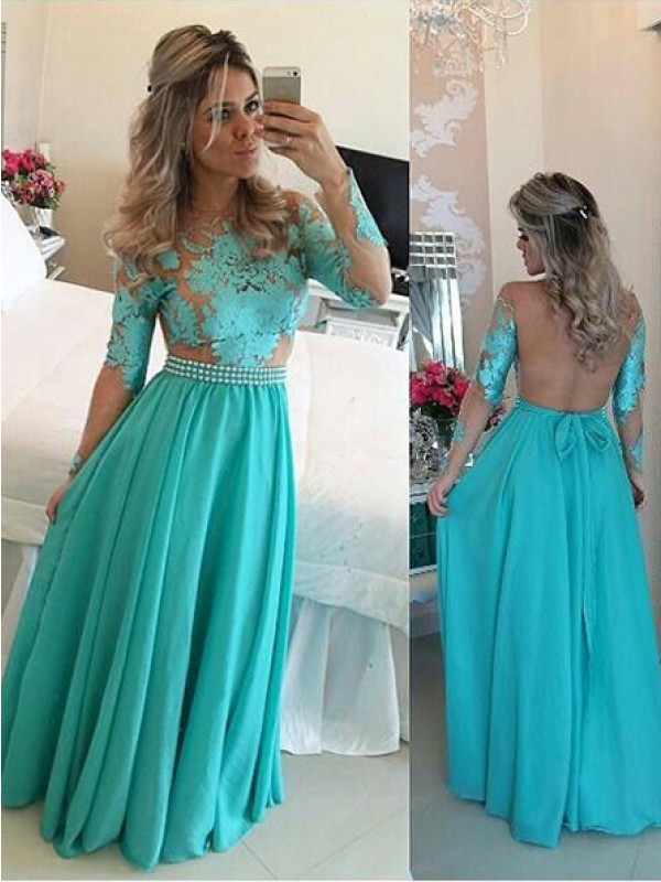 Princess Long Sleeves Scoop Chiffon Floor-Length Applique Dresses