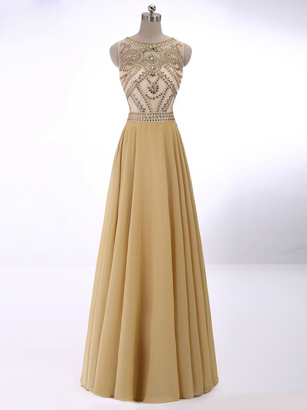 A-Line Sleeveless Scoop Crystal Chiffon Floor-Length Dresses