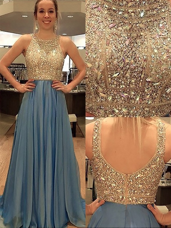 A-Line/Princess Sleeveless Scoop Chiffon Beading Sweep/Brush Train Dress