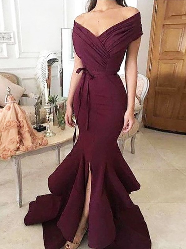 Trumpet/Mermaid Off-the-Shoulder Floor-Length Ruched Satin Dresses