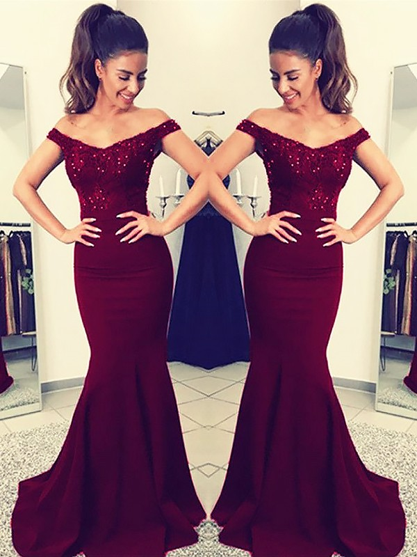Trumpet/Mermaid Off-the-Shoulder Sweep/Brush Train Lace Satin Dresses