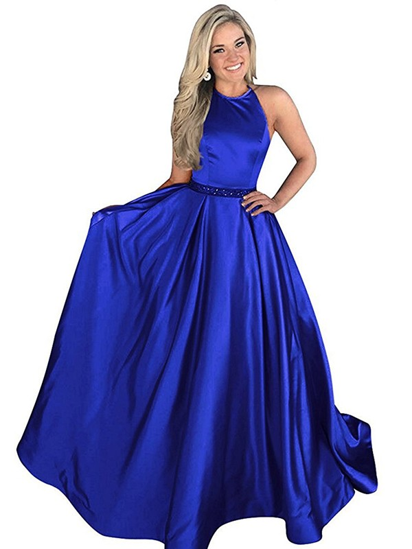 A-Line/Princess Halter Sweep/Brush Train Beading Satin Dresses