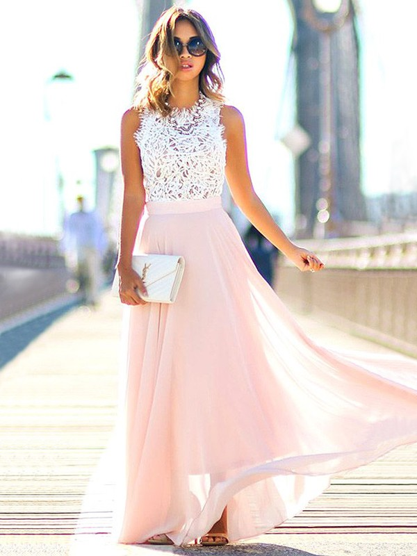 A-Line/Princess Jewel Floor-Length Lace Chiffon Dresses