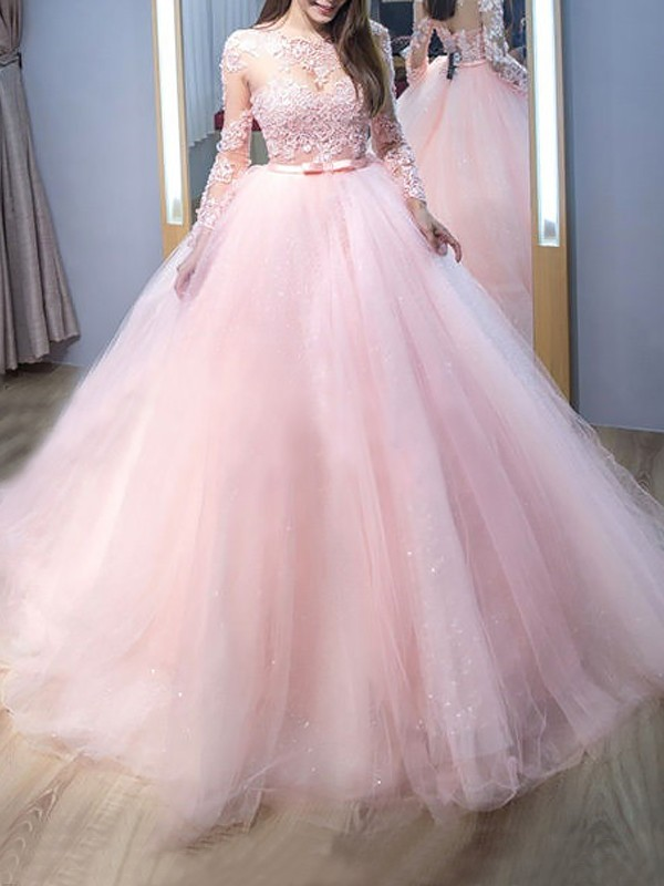 Ball Gown Jewel Sweep/Brush Train Lace Tulle Dresses