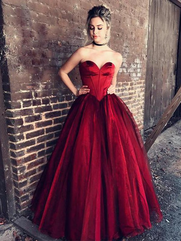 Ball Gown Sweetheart Floor-Length Ruffles Tulle Dresses