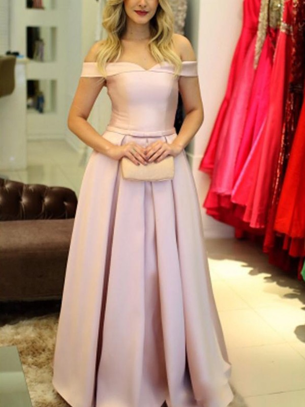 A-Line/Princess Off-the-Shoulder Floor-Length Ruffles Satin Dresses