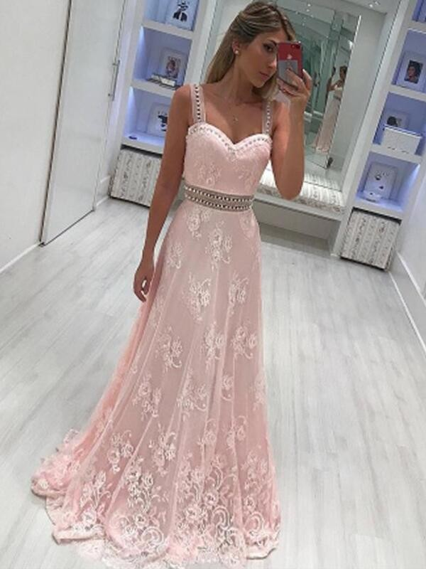 A-Line/Princess Sweetheart Floor-Length Applique Satin Dresses