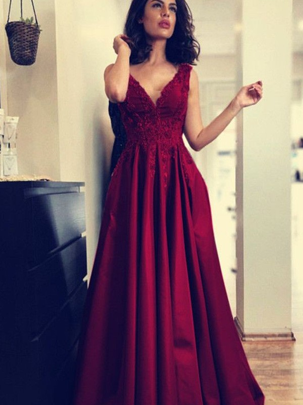 A-Line/Princess V-neck Sweep/Brush Train Applique Satin Dresses