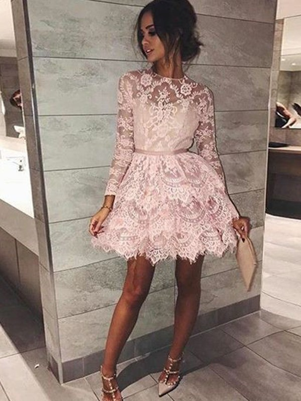 A-Line/Princess Bateau Lace Long Sleeves Short/Mini Dresses