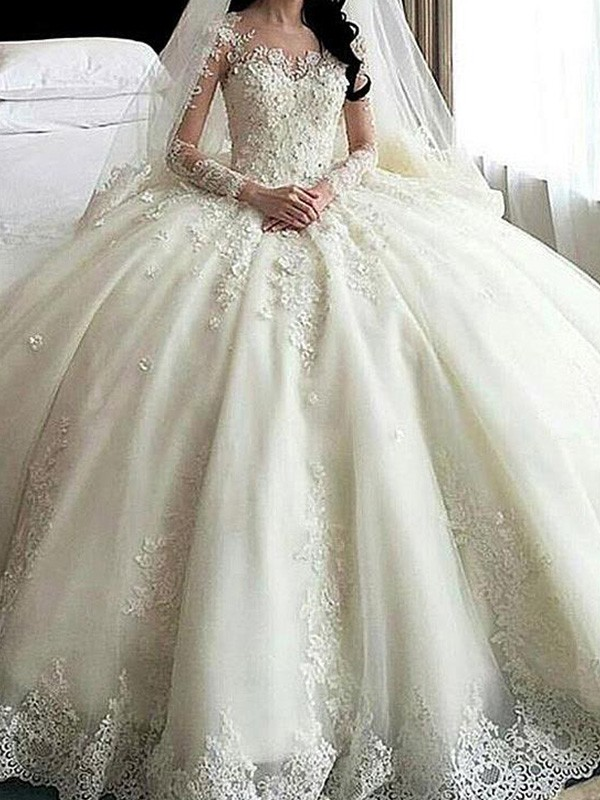 Ball Gown Scoop Tulle Long Sleeves Cathedral Train Wedding Dresses