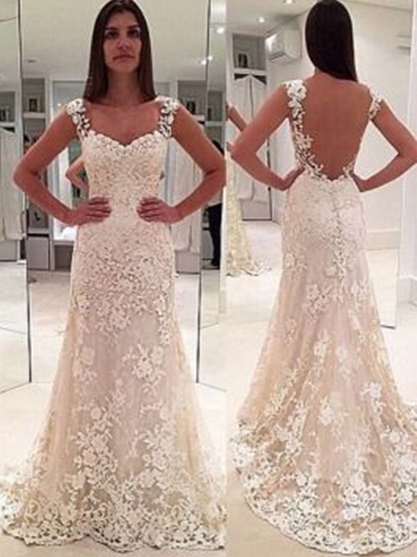 Sheath/Column Sweetheart Lace Sleeveless Court Train Wedding Dresses