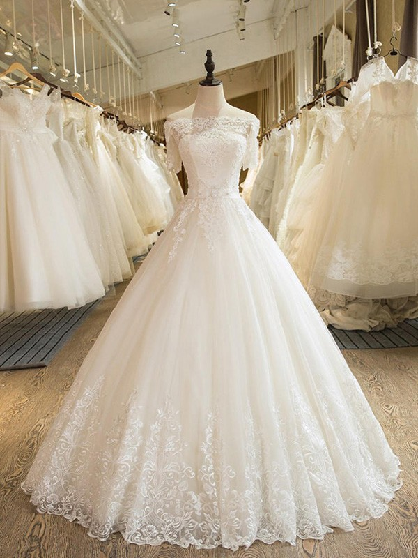 Ball Gown Off-the-Shoulder Tulle 1/2 Sleeves Floor-Length Wedding Dresses