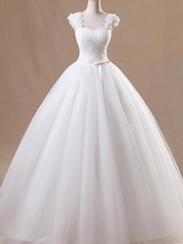 Ball Gown Square Tulle Sleeveless Floor-Length Wedding Dresses