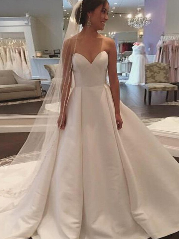 Ball Gown Sweetheart Satin Sleeveless Court Train Wedding Dresses