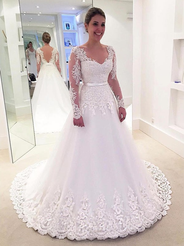 A-Line/Princess V-neck Tulle Long Sleeves Sweep/Brush Train Wedding Dresses