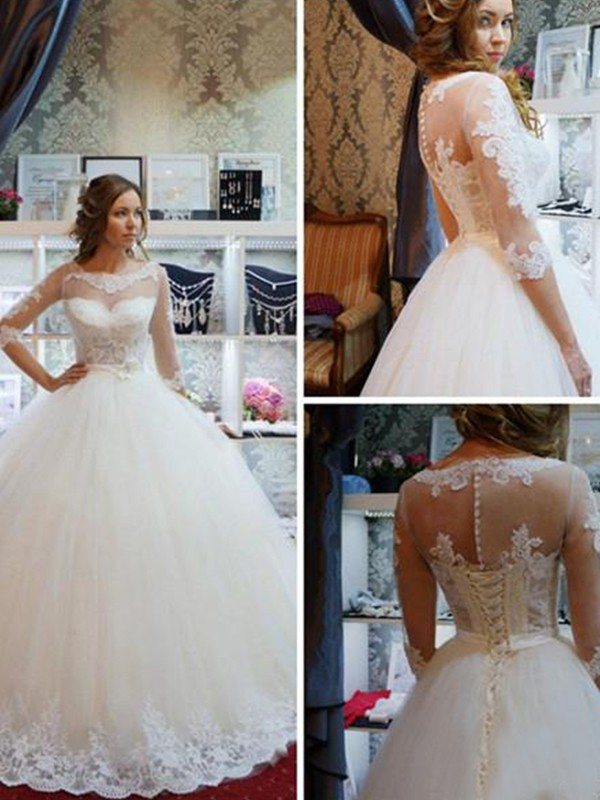 Ball Gown Scoop Tulle 1/2 Sleeves Floor-Length Wedding Dresses