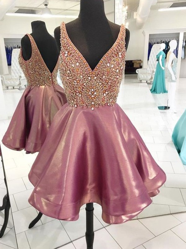 A-Line/Princess V-neck Short/Mini Beading Satin Dresses