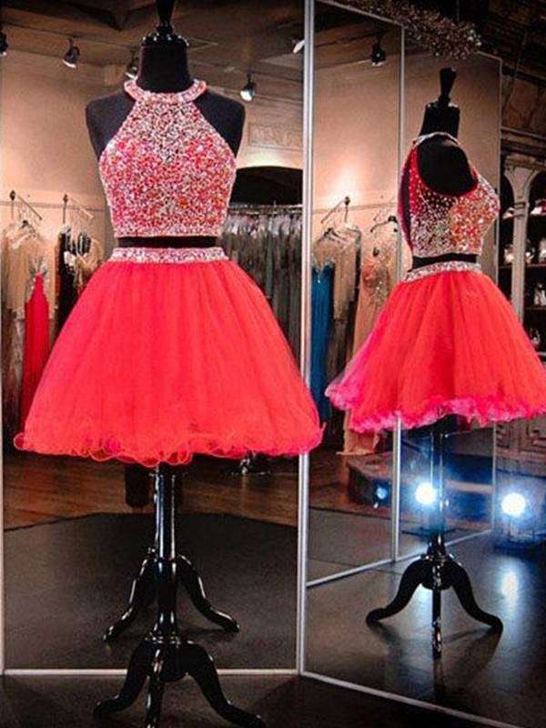 A-Line/Princess Halter Short/Mini Beading Tulle Two Piece Dresses