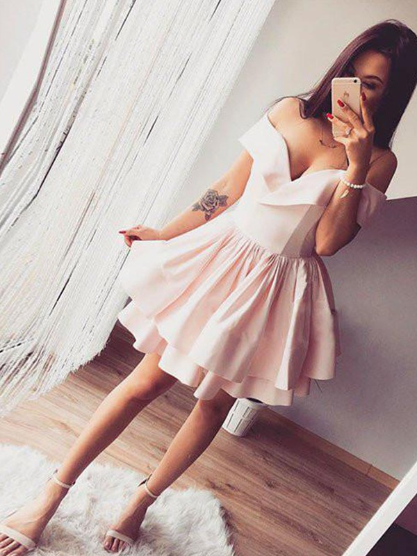 A-Line/Princess Off-the-Shoulder Short/Mini Ruffles Satin Dresses