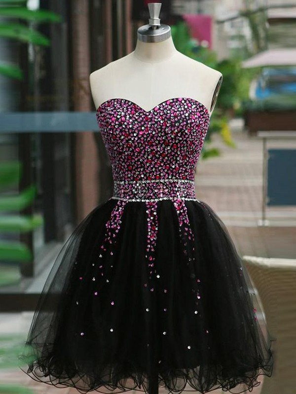 A-Line/Princess Sweetheart Short/Mini Beading Tulle Dresses