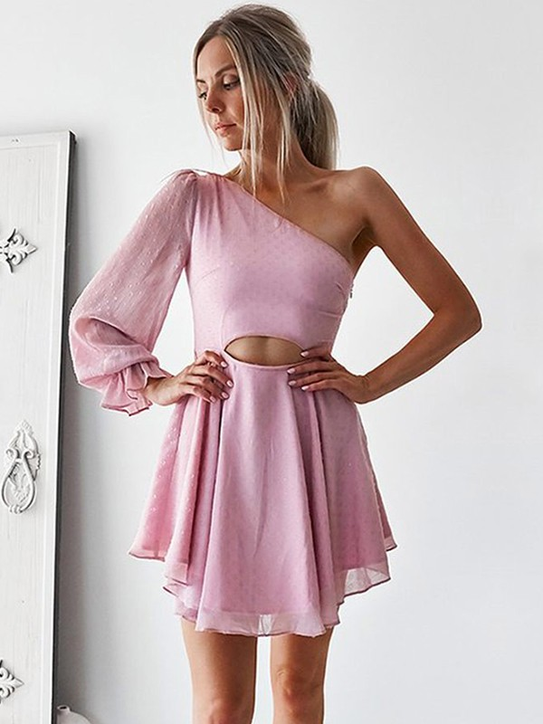 A-Line/Princess One-Shoulder Short/Mini Ruffles Chiffon Dresses
