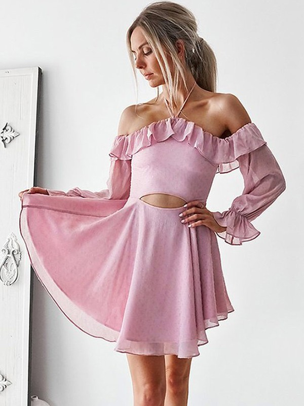 A-Line/Princess Off-the-Shoulder Short/Mini Ruffles Chiffon Dresses