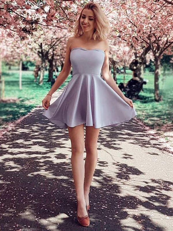 A-Line/Princess Strapless Short/Mini Ruffles Satin Dresses