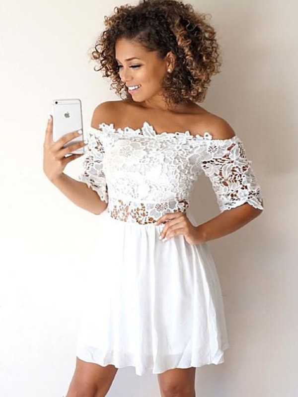 A-Line/Princess Off-the-Shoulder Short/Mini Applique Chiffon Dresses