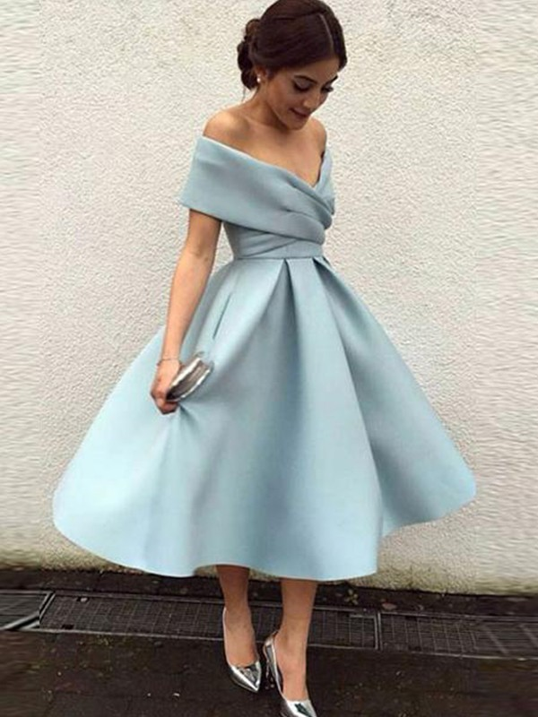 A-Line/Princess Off-the-Shoulder Tea-Length Ruffles Satin Dresses