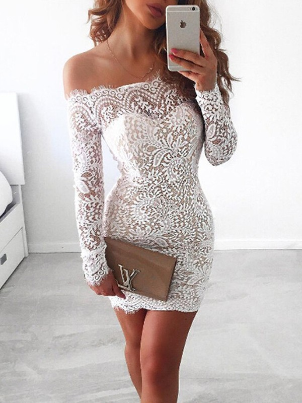 Sheath/Column Off-the-Shoulder Short/Mini Lace Dresses