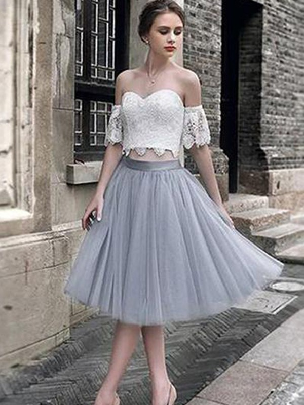 A-Line/Princess Sweetheart Tea-Length Lace Tulle Dresses