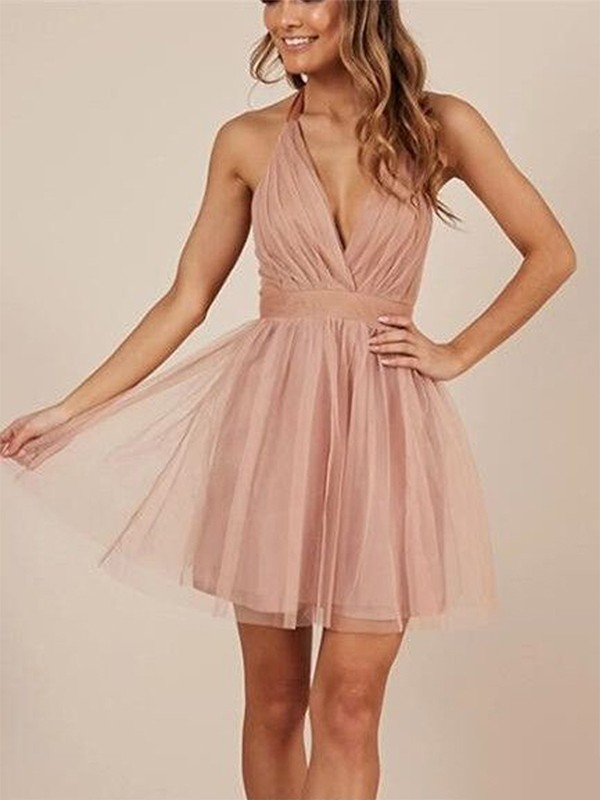 A-Line/Princess Halter Short/Mini Ruffles Tulle Dresses