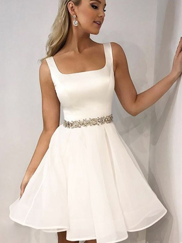 A-Line/Princess Straps Short/Mini Beading Chiffon Dresses