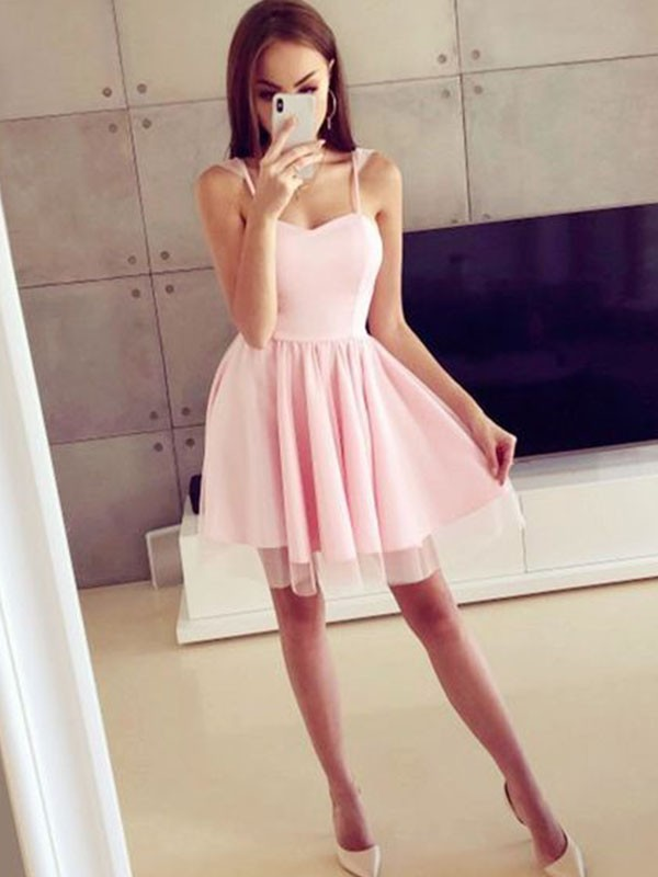A-Line/Princess Spaghetti Straps Short/Mini Ruched Satin Dresses