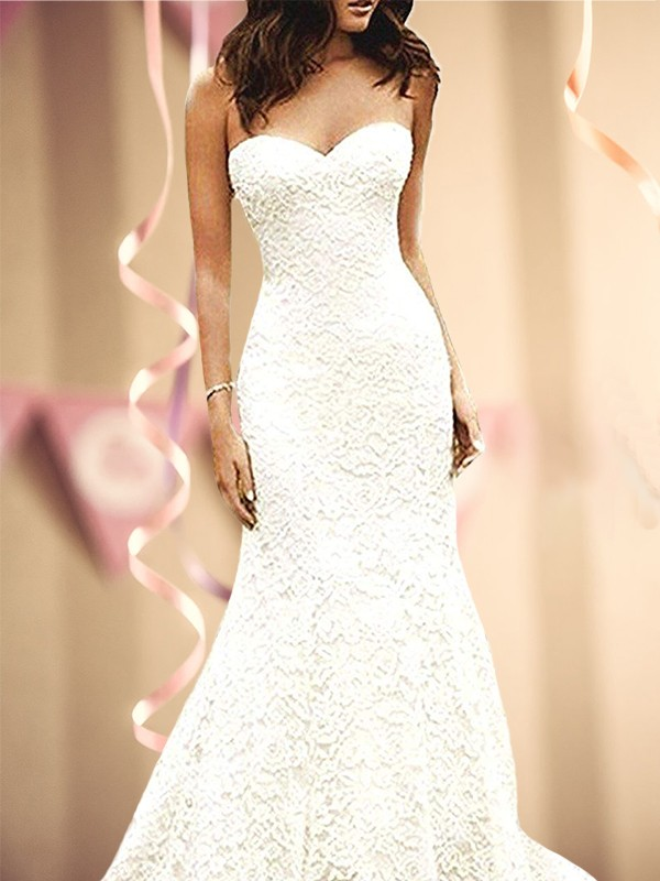 Trumpet/Mermaid Sweetheart Sleevleses Sweep/Brush Train Lace Wedding Dresses