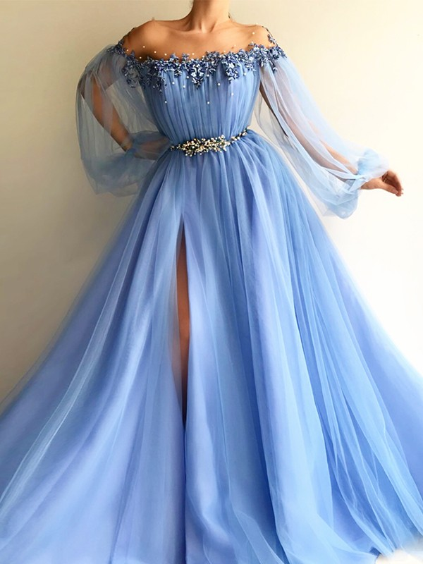 A-Line/Princess Off-the-Shoulder Floor-Length Beading Tulle Dresses