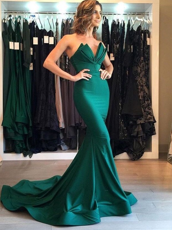 Trumpet/Mermaid V-neck Court Train Satin Dresses