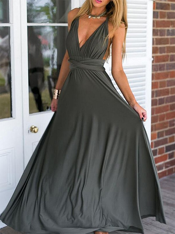 Empire V-neck Floor-Length Ruffles Chiffon Dresses