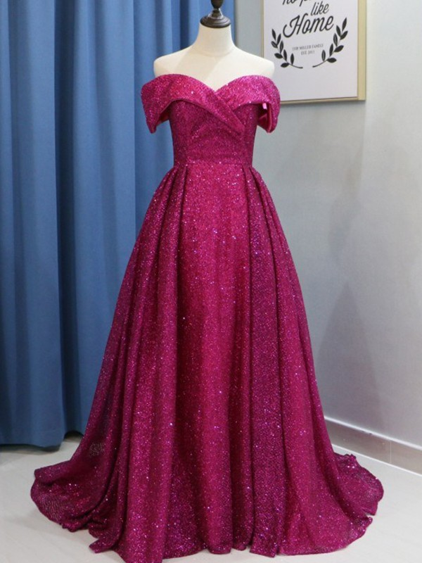 Ball Gown Off-the-Shoulder Sweep/Brush Train Ruffles Sequins Dresses