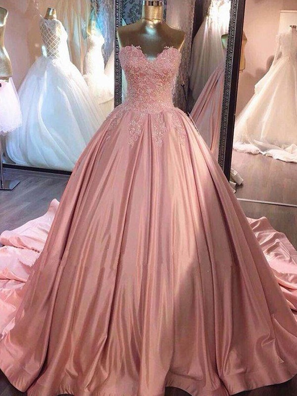 Ball Gown Sweetheart Court Train Lace Satin Dresses